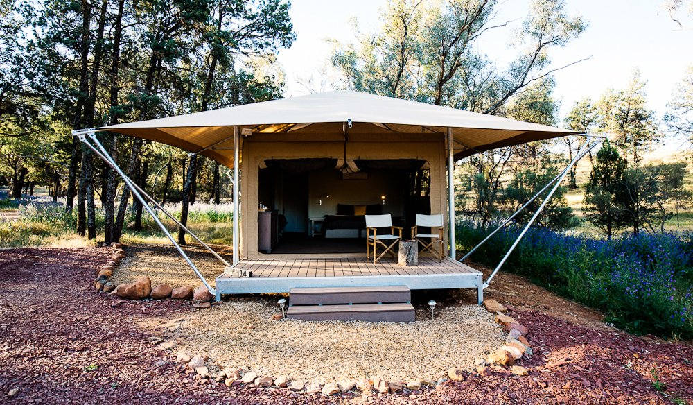 Safari Tent project by mdesign, a building design practice that operates on the Sunshine Coast.